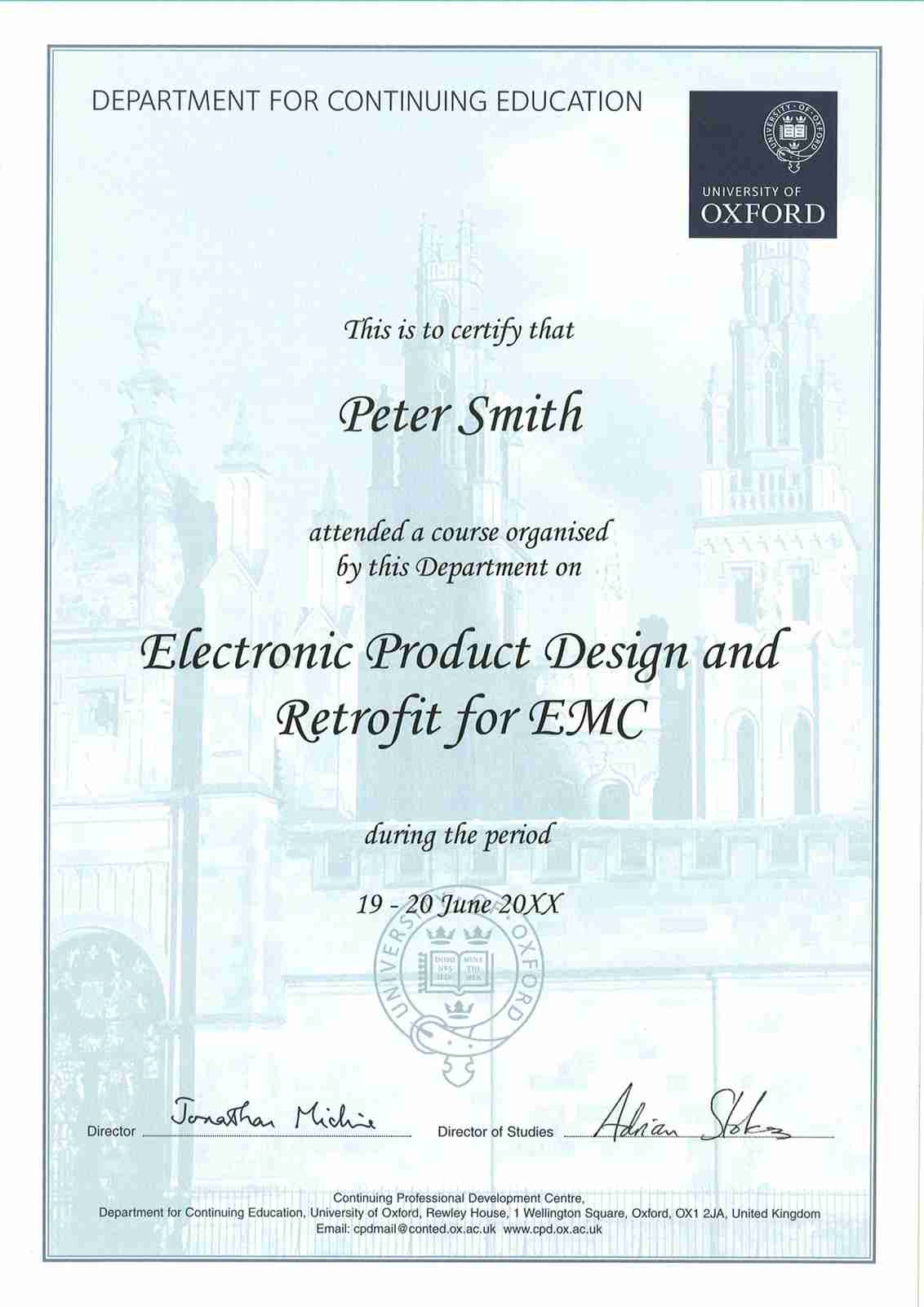 Sample certificate oxford university images certificate design applying practical emi design and troubleshooting techniques certification yadclub images yelopaper Images