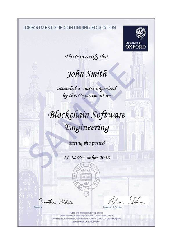 Blockchain Software Engineering Oxford University Department For