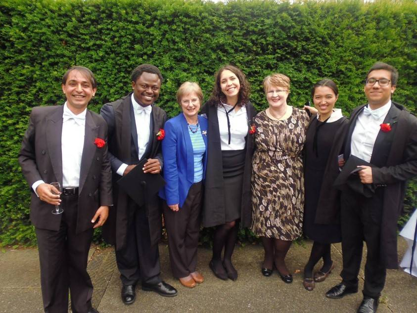 2013-14 alumni with former Administrator Alison Nicol and former Secretary Glenis Collins
