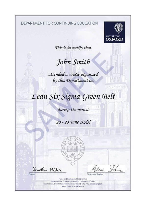 Lean Six Sigma Green Belt Oxford University Department For