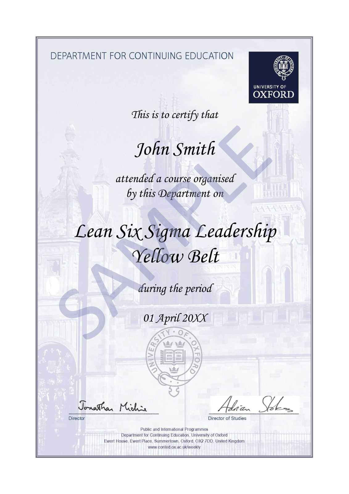 Lean six sigma leadership yellow belt oxford university certification 1betcityfo Gallery
