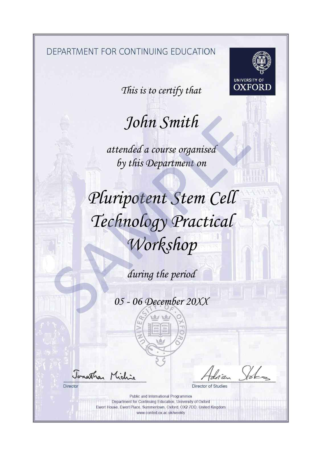 Pluripotent stem cell technology practical workshop oxford sample certificate image yelopaper Images
