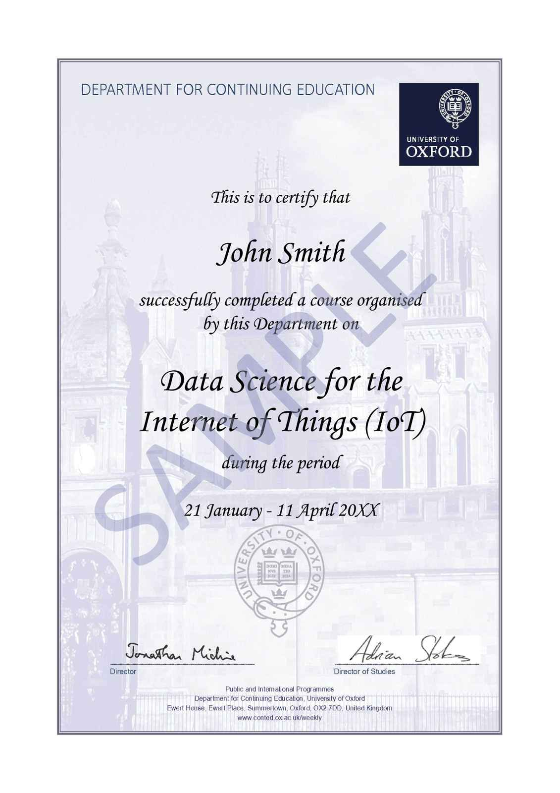 Data science for the internet of things iot oxford university participants who satisfy the course requirements will receive a certificate of attendance the sample shown is an illustration only and the wording will fandeluxe Choice Image